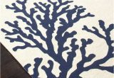 Outdoor Blue and White Rug Coral Branch Out area Rug Navy Blue and White