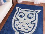 Owl area Rug for Nursery 4 X 6 Ft Blue Kids Bedroom area Rug with Owl Design