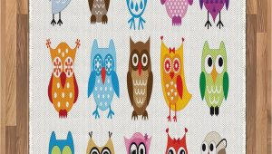 Owl area Rug for Nursery Amazon Lunarable Owl area Rug Group Of Nursery Cartoon