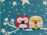 Owl area Rug for Nursery Blue Pink White soft Cute area Rug Carpet Mat with Owl Stars Animal Cartoon for Kids Little Girl Boy Room Nursery Size 6 7″x9 2″ Feet 200—280 Cm and