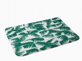 Palm Leaf Bath Rug Palm Leaf Pattern 02 Green Memory Foam Bath Mat the Old Art