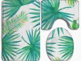 Palm Tree Bathroom Rug Set Pudmad Tropical Plant Palm Tree Leaves 3 Piece Bathroom