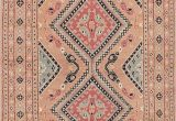 Peach and Blue Rug 51 X 120 Vintage Turkish Anatolian Copper and Blue Rug