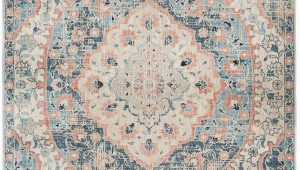 Peach and Blue Rug Esna Blue and Peach Traditional Distressed Medallion Rug