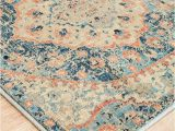 Peach and Blue Rug Esna Blue and Peach Traditional Distressed Medallion Runner Rug