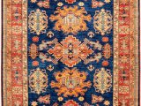 Peach and Blue Rug Peach and Navy Geometric Kazak Rug orientalrugs Geometrics