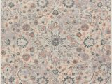 Peach and Gray area Rug Celestial Boho Medallion Pink Blue Grey Distressed Vintage area Rug