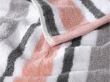 Peach Bath towels and Rugs Peach & Grey Striped Cotton 450 Gsm Bath towel