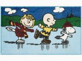 "Peanuts Holiday Bath Rug Nourison Closeout Peanuts Three Skating 18"" X 30"" Accent"