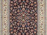 Persian Rug Navy Blue Blue Silk and Wool Modern Persian isfahan Rug Nazmiyal