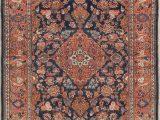 Persian Rug Navy Blue Pre 1900 Navy Blue Floral Kashan Dabir Antique Persian Rug 4×7