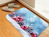 Pine Cone Bath Rugs Christmas Ball Pine Cone On Snow Print area Rugs