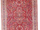 "Pink and Blue oriental Rug 6757 Antique Sarouk Persian Rug 4 3"" X 6 5"""
