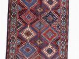 Pink and Blue Persian Rug Vintage Tribal Rug Pink Blue Rug Afghan Persian Rug Diamond Pattern Rug 3 X 5 Feet
