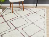 Pink Grey and White area Rug Metro 606 Contemporary Diamond Rug White Pink Grey