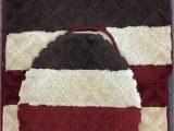 Plush Burgundy Bathroom Rugs Wpm 3 Piece Bath Rug Set Stripe Burgundy Pattern Bathroom Rug 50cmx80cm Contour Mat 50cmx50cm with Lid Cover Stripe Burgundy