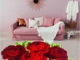 Plush Red Bathroom Rugs Fluffy Plush Red Rose Wedding Rug soft Shaggy Microfibers Non Slip Rug Bath Mat Washable Absorbent Carpet for Livingroom Bedroom