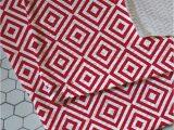 Plush Red Bathroom Rugs Retro Ruby Woven Bath Rug