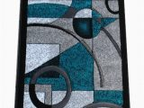 Premium Hand Carved area Rugs Masada Rugs sophia Collection Hand Carved area Rug Modern Contemporary Turquoise White Grey Black 2 Feet X 7 Feet 3 Inch Runner