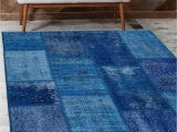 Printed Plush Memory Foam area Rug Else Blue Anatolian Patchwork Rug Turkish Handmade organic