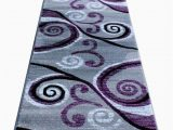 Purple and White area Rugs Masada Rugs Stephanie Collection area Rug Modern Contemporary Design 1100 Purple Grey White Black 2 Feet 4 Inch X 11 Feet Long Runner