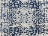 """Reasor Ivory Blue area Rug Lileth Color Midnight Blue Size 7 10"""" X 10 6"""