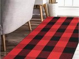Red and Black Plaid area Rug Earthall Buffalo Plaid Rug Red and Black Rug Cotton Hand Woven Buffalo Check Rug Runner Hallway Runner Washable Plaid Outdoor Rug Entryway Front