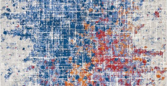 Red and Blue Modern Rug Holmgren Abstract Red Blue area Rug