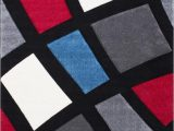 Red and Blue Modern Rug Modern Window Pattern Contemporary area Rug with 3d Hand