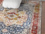 """Red and Blue Modern Rug Well Woven Amestris Blue & Red Modern Heriz Vintage Distressed Medallion area Rug 8×11 7 10"""" X 9 10"""" Persian oriental Carpet"""