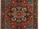 Red and Blue Persian Style Rug Exquisite Rugs Serapi Hand Knotted 9971 Red Blue area Rug