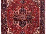 Red and Blue Persian Style Rug Persian Heriz Hand Knotted 8×11 Red Blue area Rug