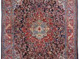 Red and Blue Persian Style Rug Persian Sarouk Semi Antique 10×14 Red Blue area Rug