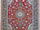 Red and Blue Persian Style Rug Vintage Persian isfahan area Rug Super Fine Wool and Silk Rug True Blue Red 3 X 5