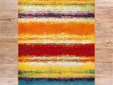 Red and Blue Striped Rug Puglia Multi Stripe Red orange Yellow Blue Modern Geometric Brush Stroke area Rug