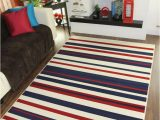 Red and Blue Striped Rug Striped area Rug Fashionable Affordable Easy Clean Milan