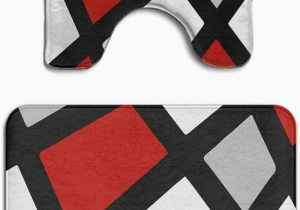 Red and Gray Bathroom Rugs Beach Surfer Memory Foam 2 Piece Bathroom Rug Set Red Gray Black White Geometric Skidproof Bath Mat and toilet Seat Contour Cover Rug