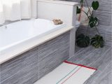 Red and Gray Bathroom Rugs [ En]linen and Hemp Bath Rug with Green and Red Stripes[ ]