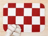 Red and White Bath Rug Liverpool Checkered Flag Red and White