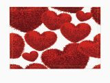 Red Fluffy Bathroom Rugs Decor Red Fluffy soft Heart toys for Lover Bath Rugs Non