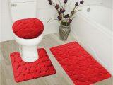Red Fluffy Bathroom Rugs Rock Red 3 Piece Embossed Bathroom Rug Set Super soft