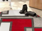 Red Grey and Black area Rugs Uptown Squares Red Grey Modern Geometric Fy Casual Hand