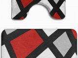 Red Memory Foam Bathroom Rugs Beach Surfer Memory Foam 2 Piece Bathroom Rug Set Red Gray Black White Geometric Skidproof Bath Mat and toilet Seat Contour Cover Rug
