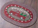 Red Truck Bathroom Rug Vintage Christmas Braided Rugs