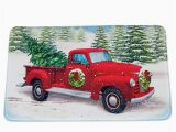 Red Truck Christmas Bath Rug Classic Red Pickup Truck Holiday Bath Mat with Rubber Back