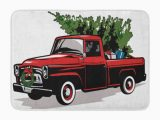 Red Truck Christmas Bath Rug Laddke Red Christmas Holiday Truck Tree Vintage Old Pickup