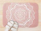 Rose Gold Bath Rug White Flower Mandala On Rose Gold