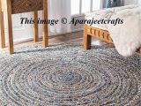 Round area Rug 5 Ft Hand Braided Bohemian Colorful Cotton Jut area Rug Round Rug