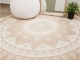 Round area Rug with Fringe Floral Mandala Round area Rug