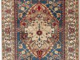 "Round area Rug with Fringe Safavieh Kashan Collection Traditional oriental Medallion Fringe area Rug 3 3"" X 4 10"" Ivory Blue"
